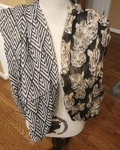 Accessories - Two scarves, one tiger, one infinity zebra print